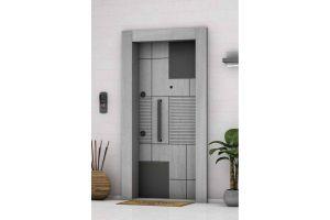 Laminoks Çelik Kapı A- Plus 4x4 Güvenlikli Gri Meşe 1047