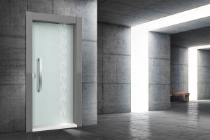 Boyut Çelik Kapı Light Serisi Işıklı Temperli Beyaz Camlı Antrasit DROP003
