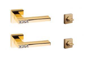 System Azurit Altın Rozetli Wc Kapı Kolu Takımı HA105RO11GL