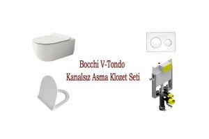 Bocchi V-Tondo Kanalsız Asma Klozet Seti Parlak Beyaz 14170010128